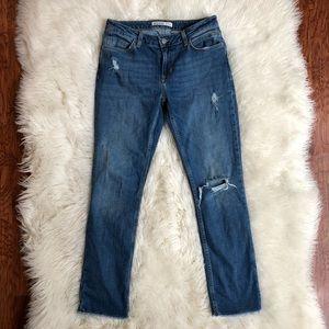 Zara Distressed Boyfriend Straight Jeans
